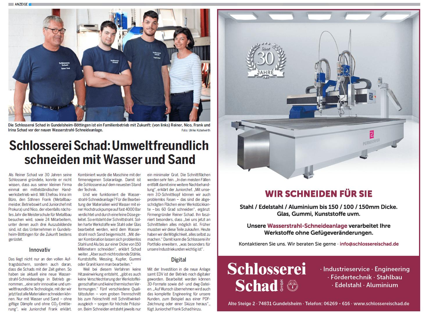 Wasserstrahlschneiden: Wir Schneiden für sie. Zeitungsartikel der Schlosserei Schad in der Heilbronner Stimme
